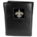 Siskiyou Buckle FTR150 New Orleans Saints Deluxe Leather Tri-fold Wallet Packaged in Gift Box