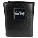 Siskiyou Buckle FTR155 Seattle Seahawks Deluxe Leather Tri-fold Wallet Packaged in Gift Box