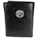 Siskiyou Buckle FTR160 Pittsburgh Steelers Deluxe Leather Tri-fold Wallet Packaged in Gift Box