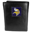 Siskiyou Buckle FTR165 Minnesota Vikings Deluxe Leather Tri-fold Wallet Packaged in Gift Box