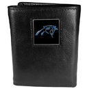 Siskiyou Buckle FTR170 Carolina Panthers Deluxe Leather Tri-fold Wallet Packaged in Gift Box