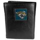 Siskiyou Buckle FTR175 Jacksonville Jaguars Deluxe Leather Tri-fold Wallet Packaged in Gift Box