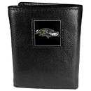 Siskiyou Buckle FTR180 Baltimore Ravens Deluxe Leather Tri-fold Wallet Packaged in Gift Box