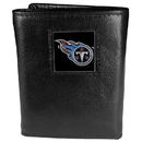 Siskiyou Buckle FTR185 Tennessee Titans Deluxe Leather Tri-fold Wallet Packaged in Gift Box