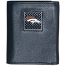 Siskiyou Buckle FTRD020 Denver Broncos Gridiron Leather Tri-fold Wallet Packaged in Gift Box