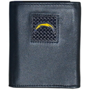 Siskiyou Buckle FTRD040 San Diego Chargers Gridiron Leather Tri-fold Wallet Packaged in Gift Box