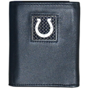 Siskiyou Buckle FTRD050 Indianapolis Colts Gridiron Leather Tri-fold Wallet Packaged in Gift Box