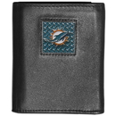 Siskiyou Buckle FTRD060 Miami Dolphins Gridiron Leather Tri-fold Wallet Packaged in Gift Box