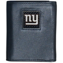 Siskiyou Buckle FTRD090 New York Giants Gridiron Leather Tri-fold Wallet Packaged in Gift Box