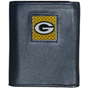 Siskiyou Buckle FTRD115 Green Bay Packers Gridiron Leather Tri-fold Wallet Packaged in Gift Box