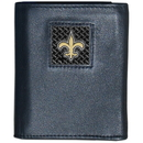Siskiyou Buckle FTRD150BX New Orleans Saints Gridiron Leather Tri-fold Wallet