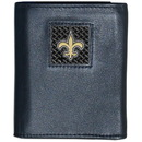 Siskiyou Buckle FTRD150 New Orleans Saints Gridiron Leather Tri-fold Wallet Packaged in Gift Box