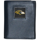 Siskiyou Buckle FTRD180 Baltimore Ravens Gridiron Leather Tri-fold Wallet Packaged in Gift Box