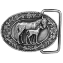 Siskiyou Buckle Mare and Colt Antiqued Belt Buckle, G4000