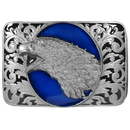 Siskiyou Buckle H76E Eagle Head with Scroll - Enameled Belt Buckle