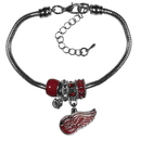 Siskiyou Buckle Detroit Red Wings Euro Bead Bracelet, HBBR110