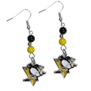 Siskiyou Buckle HBDE100 Pittsburgh Penguins Fan Bead Dangle Earrings