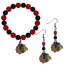 Siskiyou Buckle Chicago Blackhawks Fan Bead Earrings and Bracelet Set, HBDE10BB