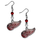 Siskiyou Buckle HBDE110 Detroit Red Wings Fan Bead Dangle Earrings