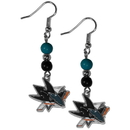 Siskiyou Buckle HBDE115 San Jose Sharks Fan Bead Dangle Earrings
