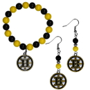 Siskiyou Buckle Boston Bruins Fan Bead Earrings and Bracelet Set, HBDE20BB