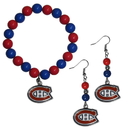 Siskiyou Buckle Montreal Canadiens Fan Bead Earrings and Bracelet Set, HBDE30BB