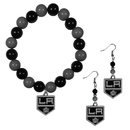 Siskiyou Buckle Los Angeles Kings Fan Bead Earrings and Bracelet Set, HBDE75BB