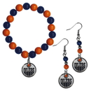 Siskiyou Buckle Edmonton Oilers Fan Bead Earrings and Bracelet Set, HBDE90BB