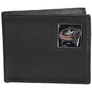 Siskiyou Buckle HBI130 Columbus Blue Jackets Leather Bi-fold Wallet Packaged in Gift Box