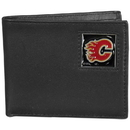 Siskiyou Buckle HBI60 Calgary Flames Leather Bi-fold Wallet Packaged in Gift Box