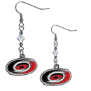 Siskiyou Buckle HCE135 Carolina Hurricanes Crystal Dangle Earrings