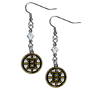 Siskiyou Buckle HCE20 Boston Bruins Crystal Dangle Earrings