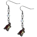 Siskiyou Buckle HCE45 Arizona Coyotes Crystal Dangle Earrings