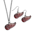 Siskiyou Buckle Detroit Red Wings Dangle Earrings and Chain Necklace Set, HDEN110HN