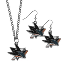 Siskiyou Buckle San Jose Sharks Dangle Earrings and Chain Necklace Set, HDEN115HN