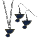 Siskiyou Buckle St. Louis Blues Dangle Earrings and Chain Necklace Set, HDEN15HN