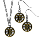 Siskiyou Buckle Boston Bruins Dangle Earrings and Chain Necklace Set, HDEN20HN