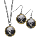 Siskiyou Buckle Buffalo Sabres Dangle Earrings and Chain Necklace Set, HDEN25HN