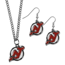 Siskiyou Buckle New Jersey Devils Dangle Earrings and Chain Necklace Set, HDEN50HN