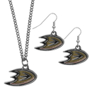 Siskiyou Buckle Anaheim Ducks Dangle Earrings and Chain Necklace Set, HDEN55HN
