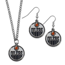 Siskiyou Buckle Edmonton Oilers Dangle Earrings and Chain Necklace Set, HDEN90HN