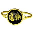 Siskiyou Buckle Chicago Blackhawks Gold Tone Bangle Bracelet, HGBB10