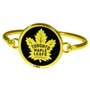 Siskiyou Buckle Toronto Maple Leafs Gold Tone Bangle Bracelet, HGBB85