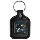 Siskiyou Buckle HLS115 NHL Sq. Leather Key Ring - San Jose Sharks
