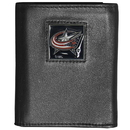 Siskiyou Buckle HTR130 Columbus Blue Jackets Deluxe Leather Tri-fold Wallet Packaged in Gift Box