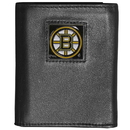Siskiyou Buckle HTR20 Boston Bruins Deluxe Leather Tri-fold Wallet Packaged in Gift Box