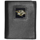Siskiyou Buckle HTR40 Nashville Predators Deluxe Leather Tri-fold Wallet Packaged in Gift Box