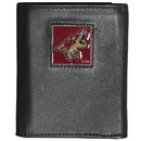 Siskiyou Buckle HTR45 Arizona Coyotes Deluxe Leather Tri-fold Wallet Packaged in Gift Box
