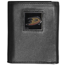 Siskiyou Buckle HTR55 Anaheim Ducks Deluxe Leather Tri-fold Wallet Packaged in Gift Box