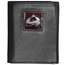 Siskiyou Buckle HTR5 Colorado Avalanche Deluxe Leather Tri-fold Wallet Packaged in Gift Box